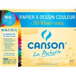 CANSON mi-teintes couleurs vives 24x32 cm 160g