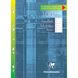 Feuillets mobiles 21x29,7 A4 100p ligné + marge