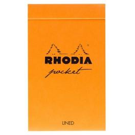 Bloc Rhodia orange 7,4x21 80F agrafées 80g ligné
