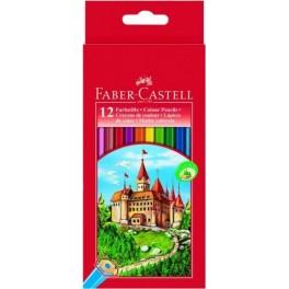 """Étui carton de 12 crayons de couleur """"château"""""""