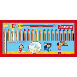 Boîte 18 crayons de couleurs WOODY