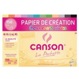 Pochette CANSON 12 feuilles couleurs vives A4 150g