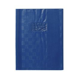 Bleu Protège-cahier+Marque-page Grain Madras 22/100ème 17x22 bleu